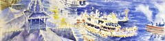Original nautical art - the 100th anniversary limited edition lithos and prints for the Newport Harbor Christmas Boat Parade.